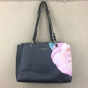 Karl Lagerfeld Floral Handbag Purse Black Pink